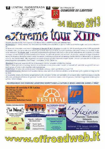 Locandina XIII edizione eXtreme tour by Lentini Fuoristrada Club 4x4