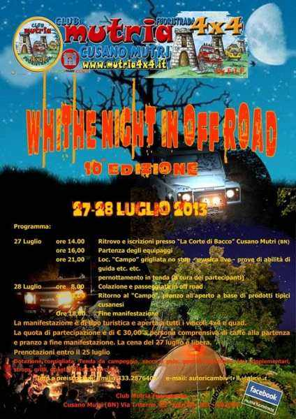 "locandina 10° Raduno ""White Night in off road"" by Club Mutria Fuoristrada 4x4"
