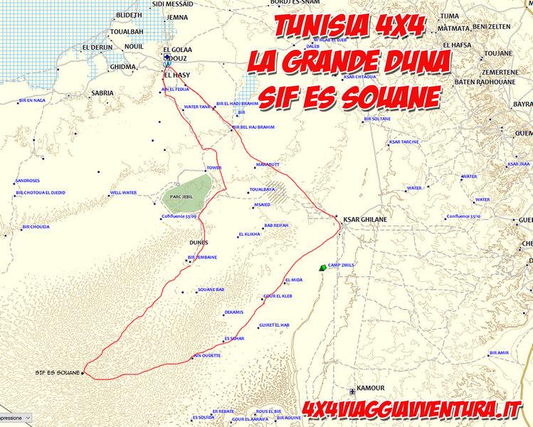 Mappa viaggio in tunisia 4x4 Capodanno 2019
